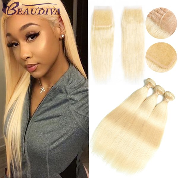 BEAUDIVA 613 Blonde Straight Virgin Hair Bundles With Closure 4*4 Lace Closure Brazilian Hair Extensions,100% Human Hair Weave