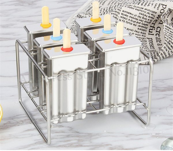 DIY Stainless Steel Popsicle Mold Ice Pop Lolly Ice Cream Stick Holder 6 Molds/Batch Home Ice Cream Maker Mould