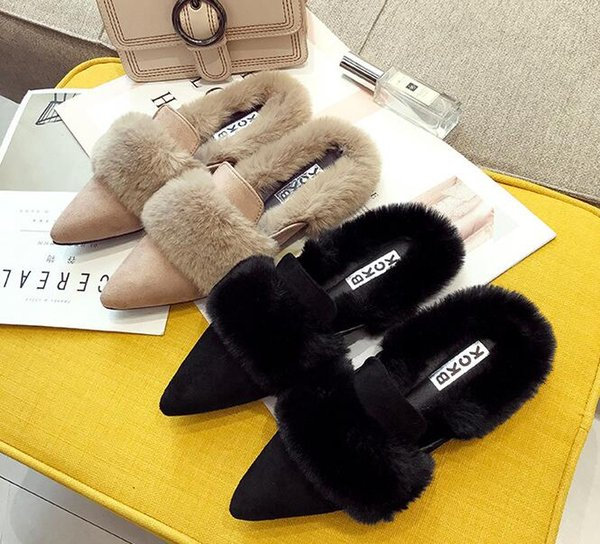 Booties leather Shoes women warm Plush Slippers home casual flat shoes Womens shoes suede exterior