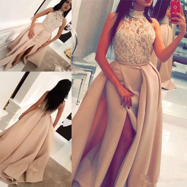 Yousef Aljasmi Champagne Lace Stain Split Evening Dresses with Over Skirt 2017 Modest High Neck Beaded Dubai Arabic Occasion Prom Dress