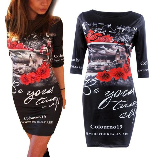 Summer Fashion Popular Printing Mini- Chiffon Casual Maxi Beach Dress Long Sleeves Denim Cheap Party For Women Dresses
