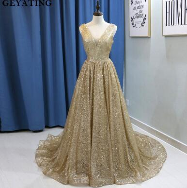 Bling Champagne Gold Sequins Arabic Evening Dress 2018 Long Dubai Prom Dresses Sexy V-neck Backless Plus Size Women Formal Gowns