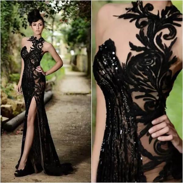 best selling Rami Salamoun Elegant Prom Dresses Beading Split Appliqued High Neck Mermaid Sequins Evening Dresses 2019 Real Image Cheap Long Formal Gowns