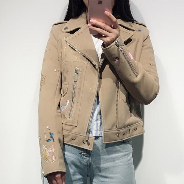 chaqueta de cuero real de las señoras chaqueta de cuero genuino de las mujeres chaqueta de gamuza pintada a mano