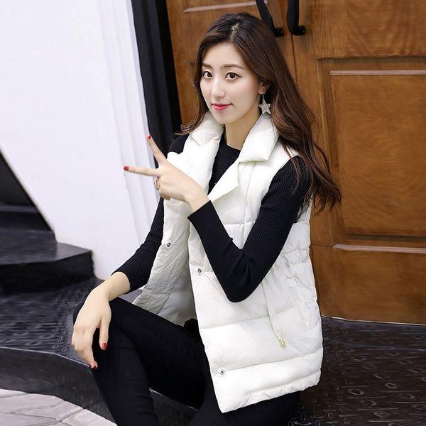 Female Lace-Up Warm Vest Autumn Winter Turn-down Collar  Waistcoat Women Casual Cotton Padded Sleeveless Outwear