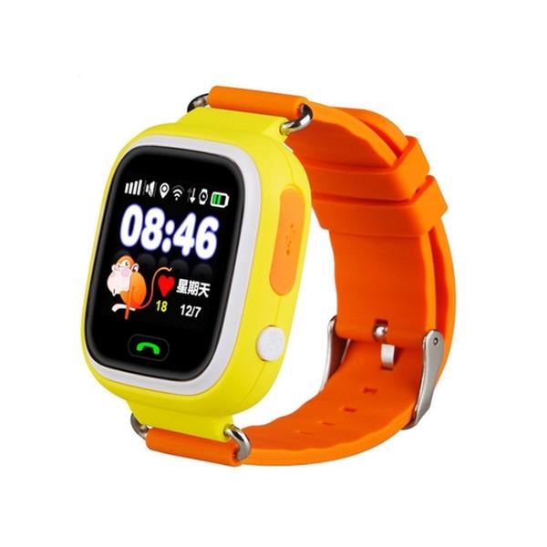 Q90 1.22 pulgadas IPS Pantalla táctil a color Niños encantadores Smartwatch GPS que sigue el reloj de Wifi, tarjeta de la ayuda de SIM, modo de colocación