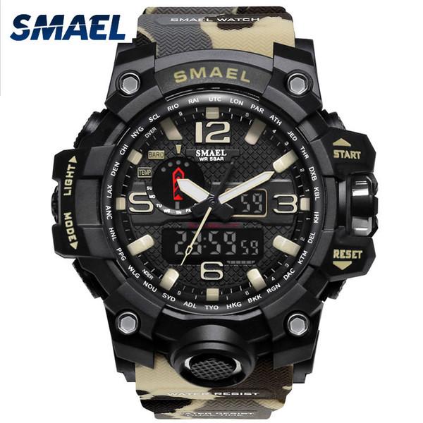 SMAEL Marque Hommes Montre Dual Time Camouflage Militaire Montre Numérique Montre LED Montre-Braccialetto 50 M Étanche 1545 BMen Horloge Sport m