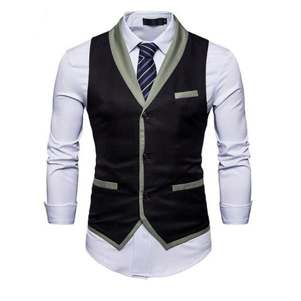 Осень новый мужской жилет шить цвет мужской костюм жилет тонкий мода бизнес формальный костюм