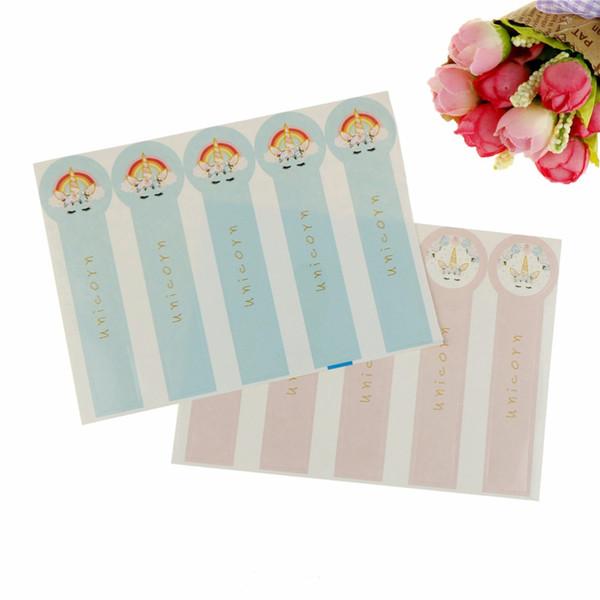 60 pcs Licorne Lollipop Conception Emballage Étiquette Sceau Autocollants Cuisson Autocollant PinkBlue En Gros
