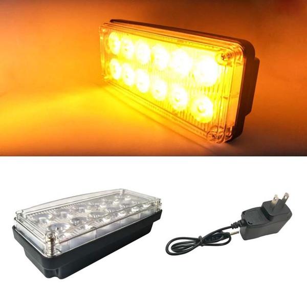 12 lumières de secours magnétiques / lumière de travail amovible avec chargeur de batterie rechargeable 5V 4 aimants robustes modes de flash doubles