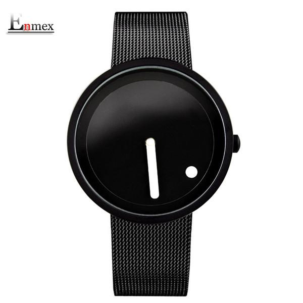 Estilo minimalista fresco Reloj de pulsera de acero inoxidable de diseño creativo Punto y línea simple y elegante reloj de moda de cuarzo S914