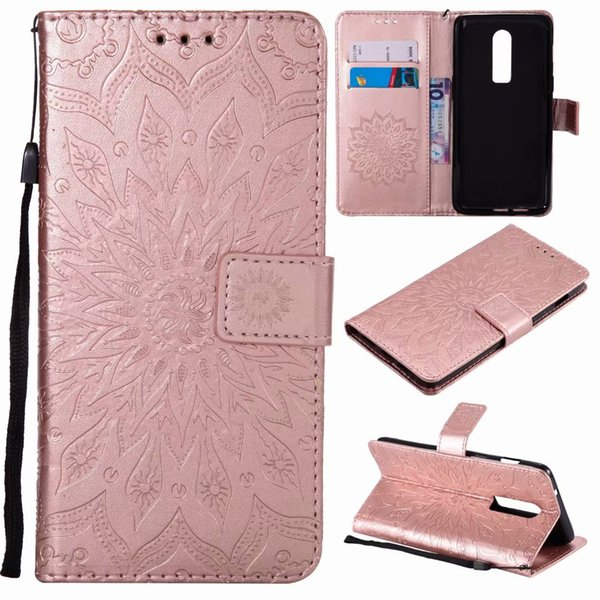 Slim PU Leather 3D Embossed Sunflowers Card Slots Wallet Case For Oneplus 6 Oneplus 5T One Plus 5