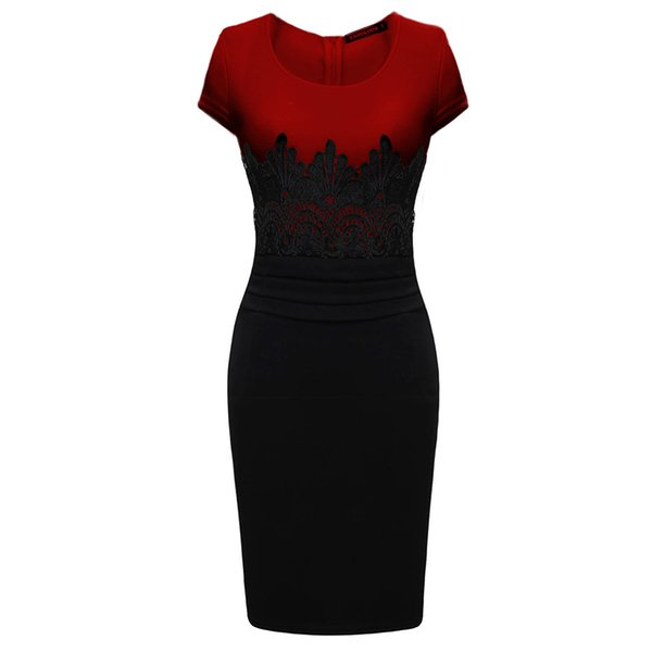 2019 New Fashion Womens Empire Vintage Celeb Lace Contrast Evening Wedding Pencil Midi Bodycon Dresses
