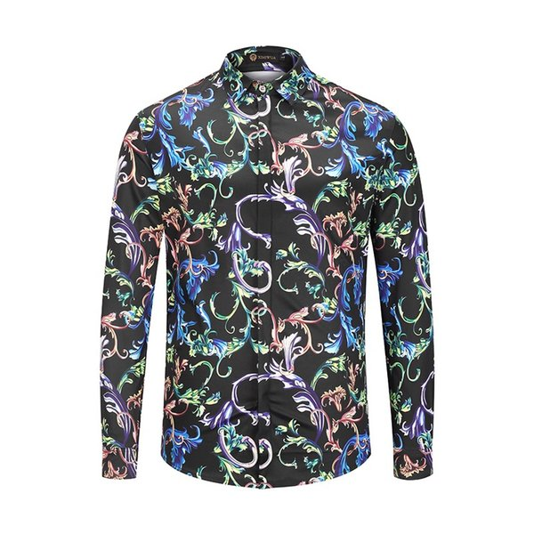 2018SS autumn Europe station leisure personality flower shirt male 3D digital printing Medusa shirt baroque style