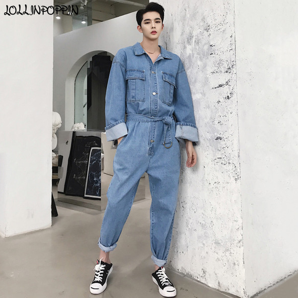 Japan Style Mens Light Blue Long Sleeve Denim Jumpsuit Turn Down Collar Loose Fit Men Overall Jeans With Sash