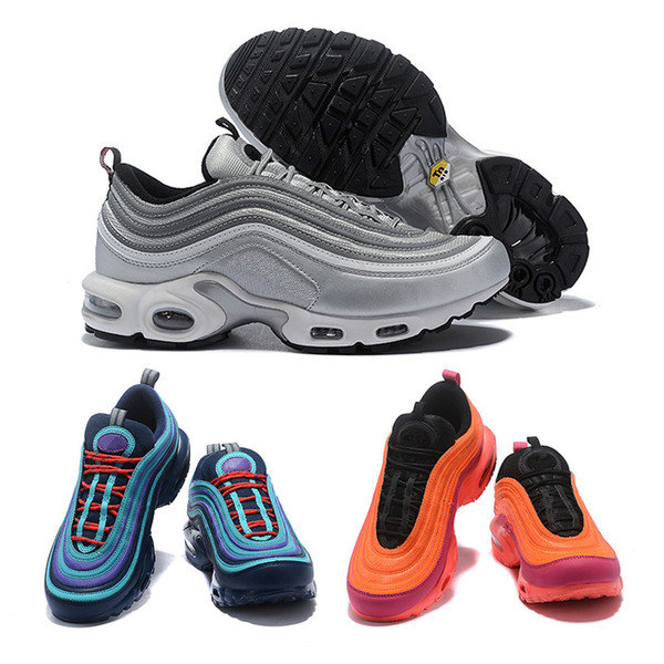 a5e88c8ea0 97 TN Shoes Triple White Black Pink Running Shoes Og Metallic Gold Silver  Bullet Mens Trainers