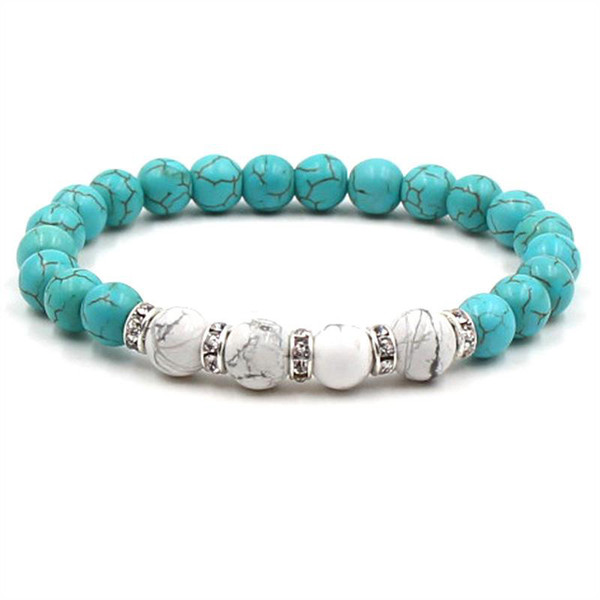 6 colors 8mm Turquoise Stone Beads Elastic Bracelet Crystal Spacer Tiger's Eye stone Hand Strings Jewelry