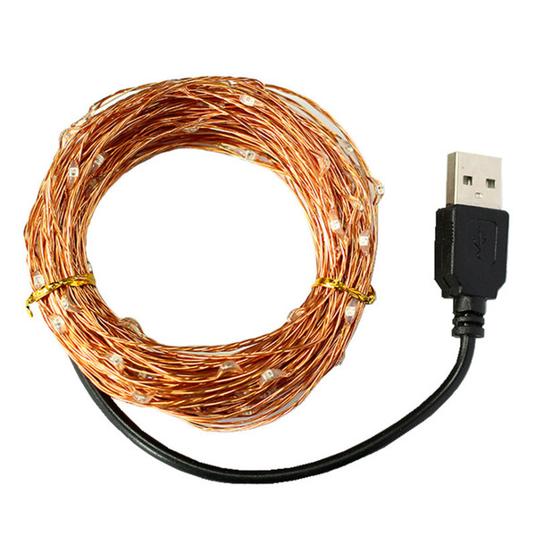 Factory direct USB copper light string 10 meters 100 lights waterproof string Christmas Day lantern copper wire light string