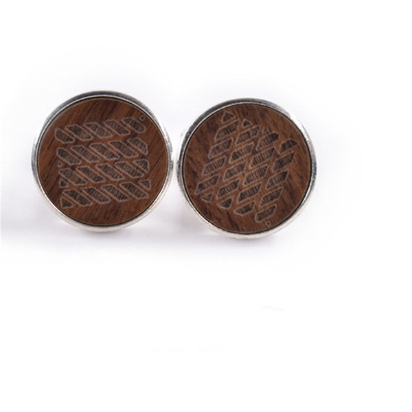 Mdiger Wood Cufflinks for Men Round Laser Point Shape Shirt Cufflink Bussiness Banquet Wedding Cuff Links Best Gifts for Men