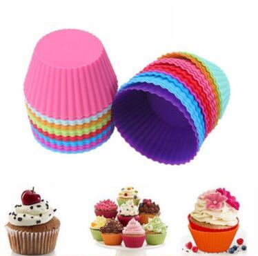 7cm Silicone Muffin Cake Cupcake Cup Cake Mould Case Bakeware Maker Mold Tray Baking Jumbo Cookie Mould Baking Molds CCA10685 1000pcs