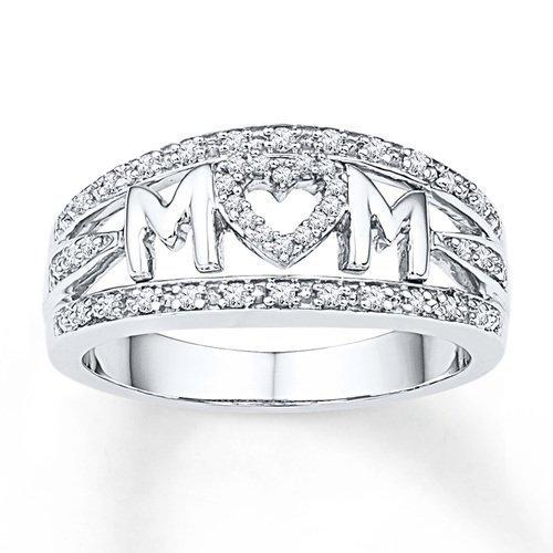 Mother's Day gift mom ring plated with 18k platinum diamond ring for women's ornaments