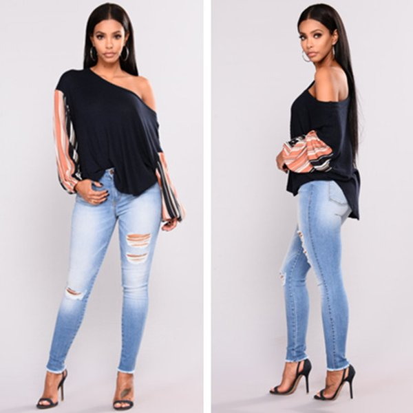 2018 washed fashion stretch ripped jeans women pants pencil trousers sexy night club style long pants