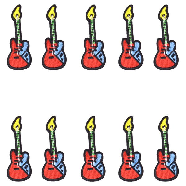 10 PCS Guitar Embroidered Patches for Clothing Bags Iron on Transfer Applique Patch for Kids Jeans Caps DIY Sew on Embroidery Stickers