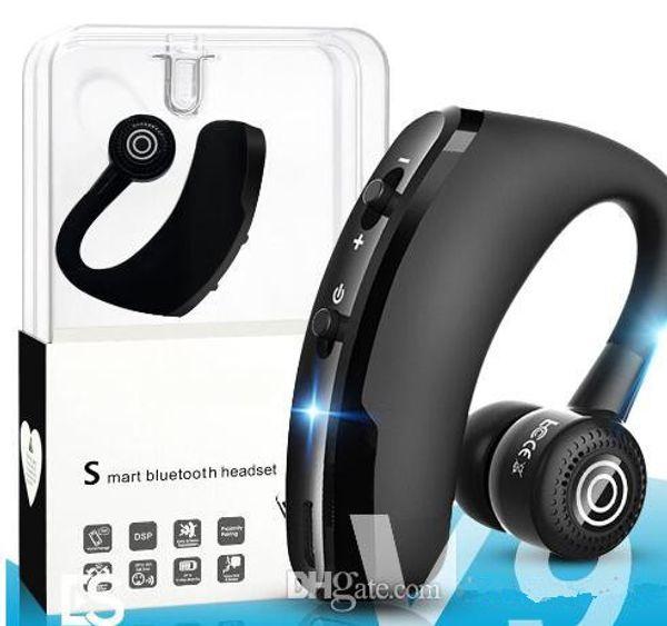 V9 Wireless Bluetooth Kopfhörer Business Kopfhörer Ohrhörer Headset mit Mikrofon Stereo CSR 4.1 Noise Cancelling Sprachsteuerung mit packag