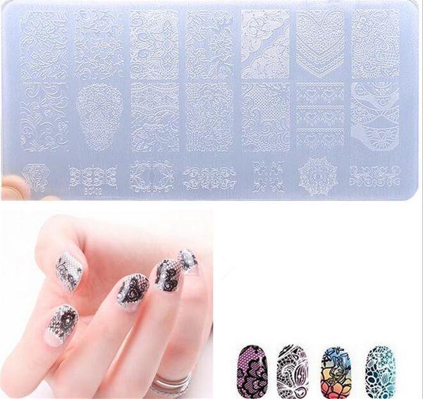 New Health Plastic Stamping Plates Set Stamper Scraper Nail Art Polish Stamp Plastic DIY Nail Art Template Set Manicure Nail Tools