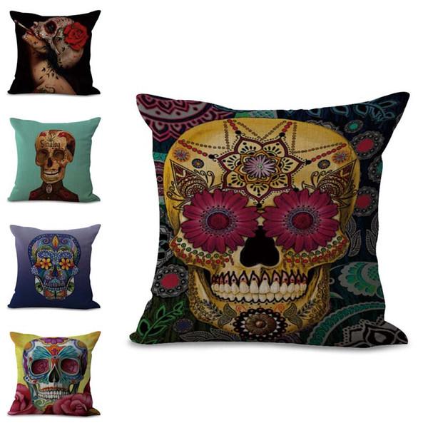 Colorido México Sugar Skull Funda de Almohada Funda de cojín de lino de algodón Funda de Almohada Cuadrada Home sofá Decoración Envío de la gota