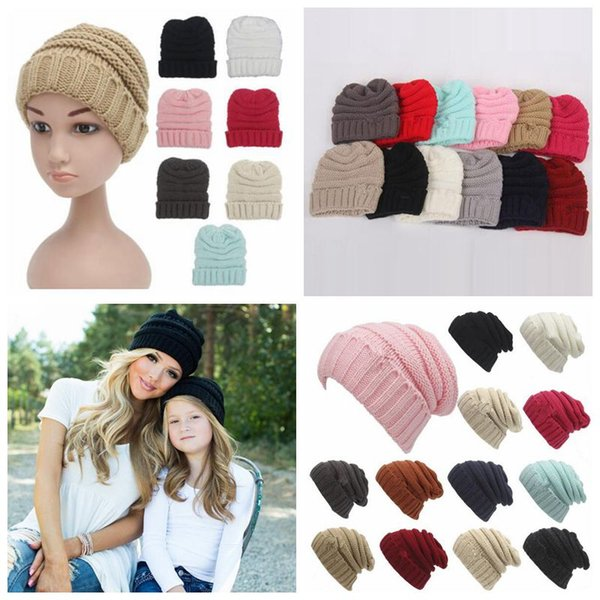 top popular Parents Kids Knitted Hats Baby Moms Winter Knitted Hats Warm Trendy Beanies Crochet Caps Outdoor Slouchy Beanies CCA 2019
