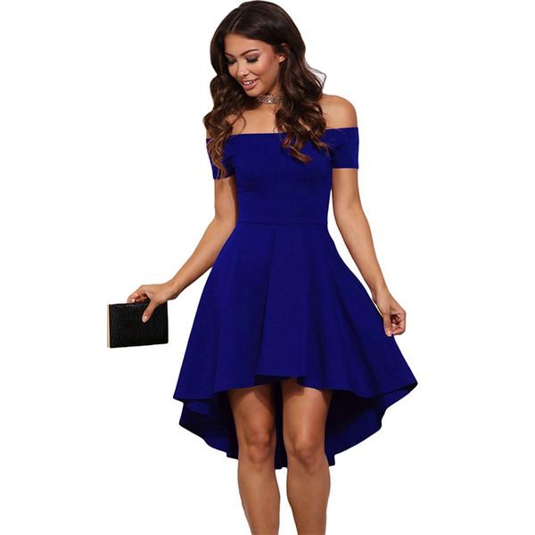 2018 Summer Vintage Off Shoulder Midi Dress Women Burgundy Blue Princess Dresses Elegant Short Sleeves Knee-length A-Line Dress
