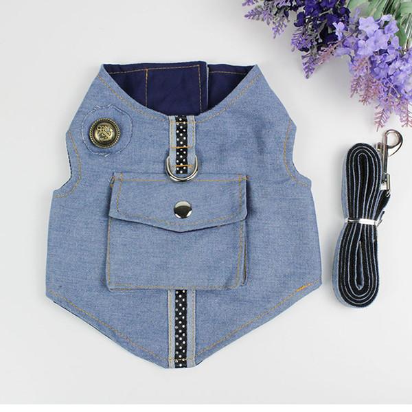 Jeans Dog Harness Vest Leash Set Denim Dog Vest Coat For Small Medium Dogs Wear Teddy Terrier Puppy Pet Supplies Pitbull