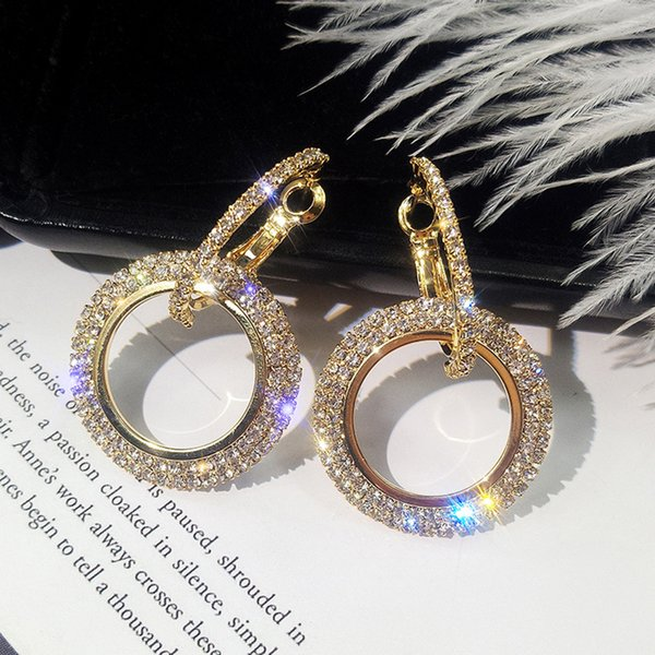 Sexy Einfache Diamanten Geometrie Kreis Strass Ohrstecker Frauen Creolen Schmuck