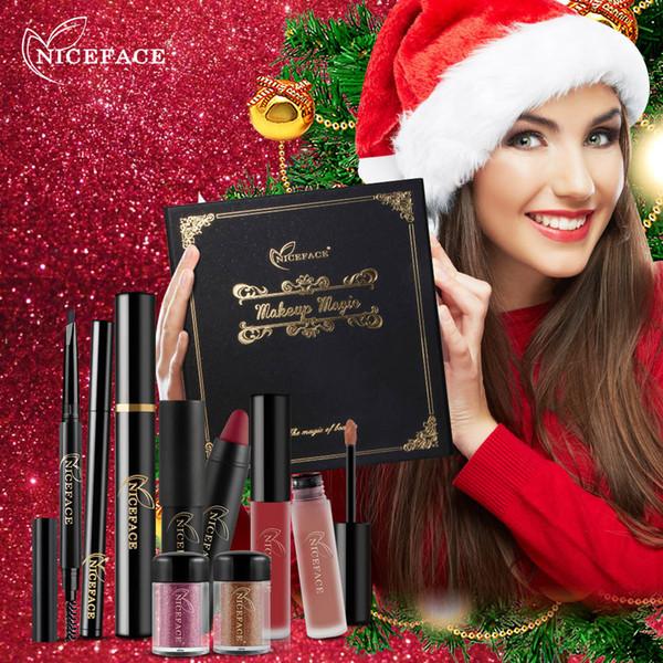 9Pcs/ Lot Makeup Set Powder Lip Gloss Eye Eyebrow Pencil Curling Mascara Blush Sexy Matte Lipstick Pen Kit for Christmas Gift