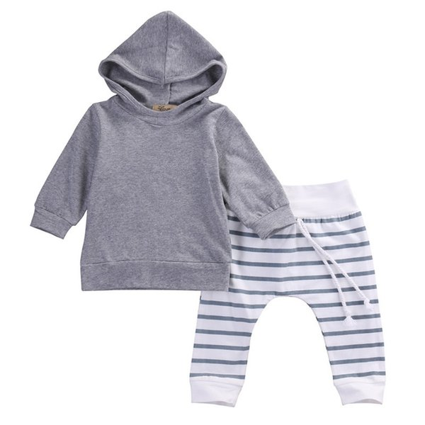 Ins Baby Hoodies Pants 2pcs Sets Long Sleeve Hooded Pullover Striped Leggings Suits For Kids Spring Autumn Clothing Free DHL B19