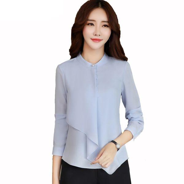 89fd99584b Spring Summer elegant long sleeve blouses women OL career collar chiffon  shirts tops ladies office business