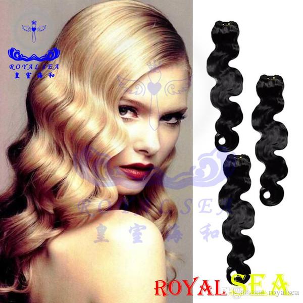 Pelo brasileño sin procesar Onda del cuerpo Cosa en extensiones de cabello virgen blando y grueso 100 g Royal Sea Remy Paquetes de armadura de cabello humano