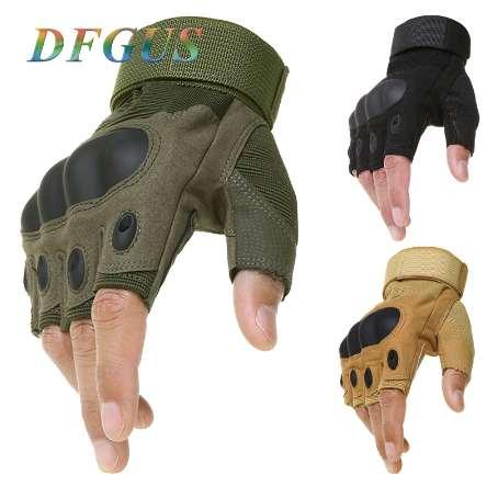 Guanti tattici senza dita Army Army Shooting Paintball Airsoft Bicycle Motorcross Combat Duro Knuckle Mezza Finger Gloves