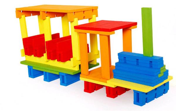 DIY wooden toys 100 pcs/lot multicolor building block toy jenga domino games