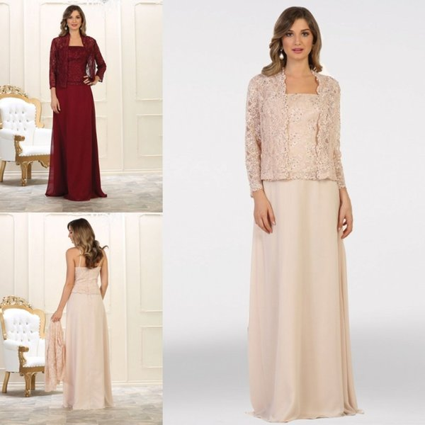 Plus Size Mother Of The Bride Dresses With Wraps Spaghetti Lace Vests  Chiffon Floor Length Mother\'S Dress Wedding Party Gowns Mother Of The Dress  ...
