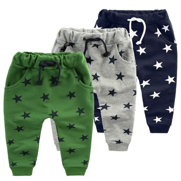 Hot sale children pants for baby boys trousers kids harem pants Size70~140 star fashion grey blue black 2018
