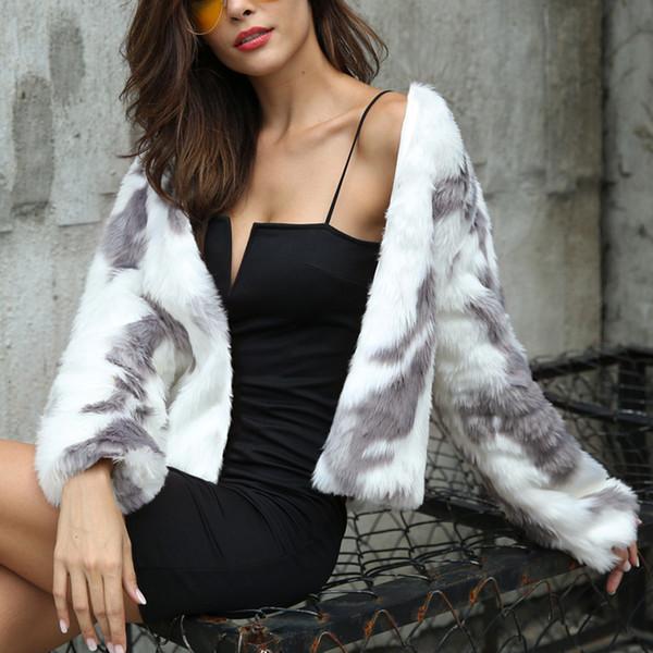 Bayan Bayanlar Sıcak Faux Kürk Ceket Kış Degrade Renk Parka Kabanlar ceket fermuar Cepler kış coat kadınlar kapüşonlu