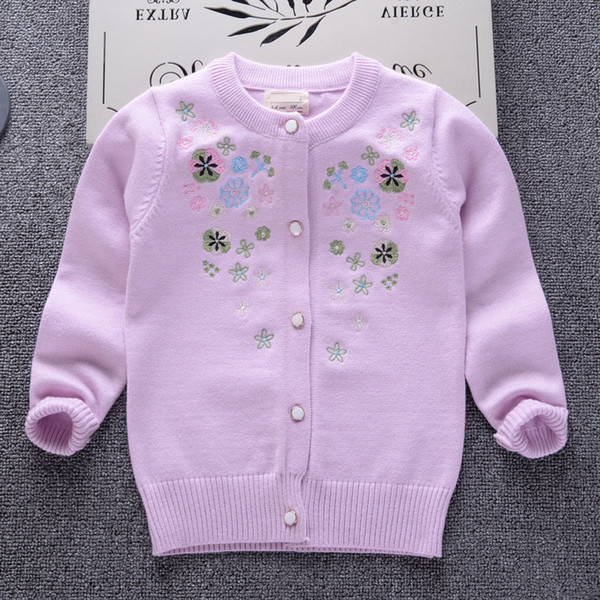 2019 Spring Autumn Winter New bead Girls princess Sweaters Kid warm Cotton Coat Children Clothing Baby Knitted cardigan cute Embroidery