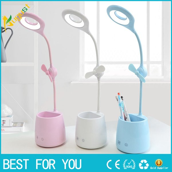 Nuevo Hot 3in1 Touch ajustable LED Desk lámpara de mesa Multifunción Nightlight Pen Holder Mini ventilador de interior para niños USB de carga