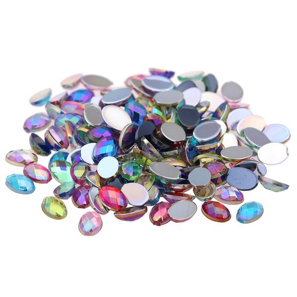100 unids 4x6mm Colorido Rhinestones de Acrílico Flatback Oval Forma Facetas de la Tierra AB Colores Pegamento En Cuentas de Resina DIY Nail Art Decoration
