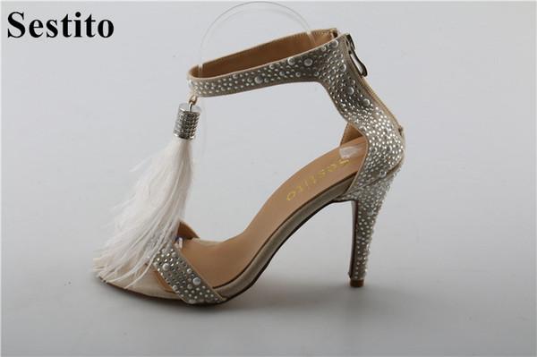wholesale Girls Tassel Embellished Thin High Heels Dress Shoes For Ladies  Luxury Rhinestone Gladiator Sandals Woman 0d46cb71645a