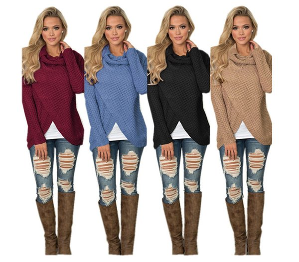 Women Irregularity Knitted Sweater Girls Fashion OL Wool Knitting Shirts Long Sleeve Turtleneck Knitwear Solid Color Pullover Cardigan New