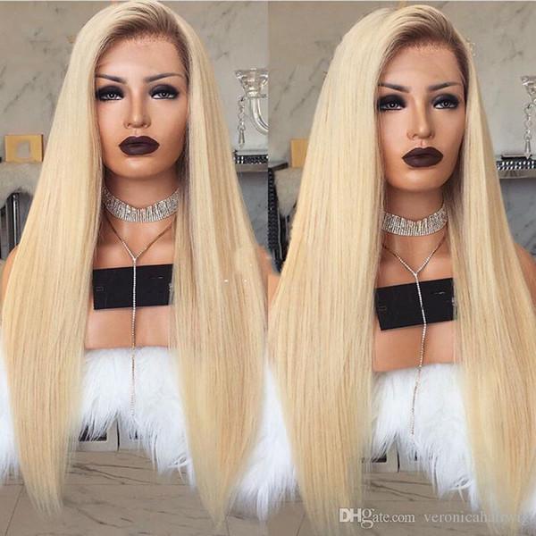 Nouveau Style Sexy 150% densité longue ligne droite Ombre Blonde Lace Front perruque avec bébé cheveux sans colle perruques synthétiques résistant à la chaleur pour les femmes noires