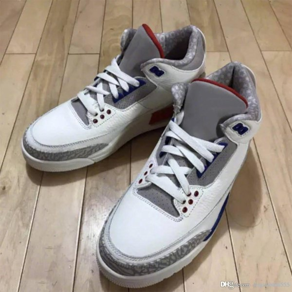 best sneakers ae177 3e8ed 2019 2018 Top 3 Charity Game USA White Blue Red 3S III Basketball Shoes  Sneakers For Men Authentic Quality With Box 136064 140 From Supreme123, ...